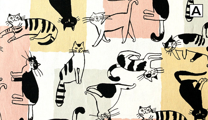 No.1024 cat Cotton20+Linen80 made in japan fabric animal (sell by the roll 14M)