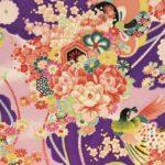 No.1035 purple Chirimen Japanese design rayon fabric birds wholesale 12M