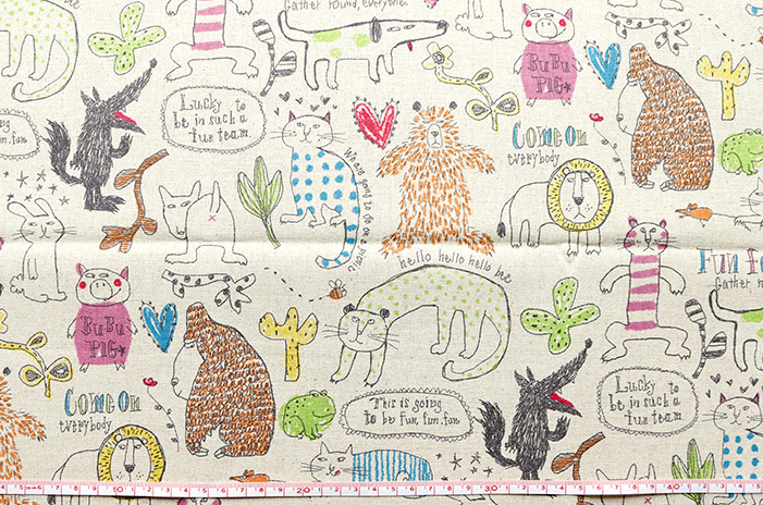 No.1022CAT Cotton80+Linen20 mixed fabric printed (14M sell by the roll)japan