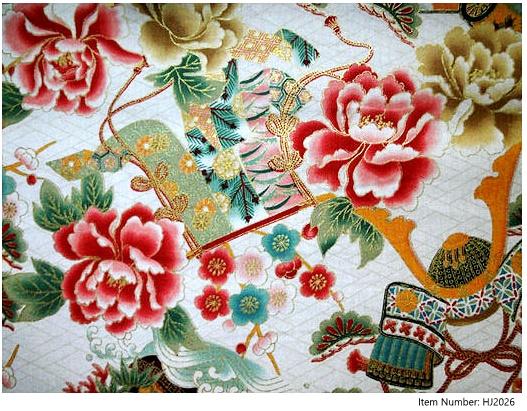 Detail: HJ2026 gold Peony flowers UME pine tree Kabuto  japan cotton fabric 36M