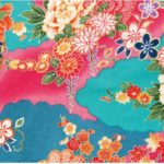 No.1036 Chirimen Japan pattern light blue rayon fabric cloud 12M