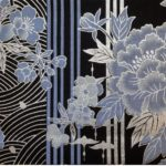 HJ2025 Stripe Japanese flowers pattern sell by the roll 36M