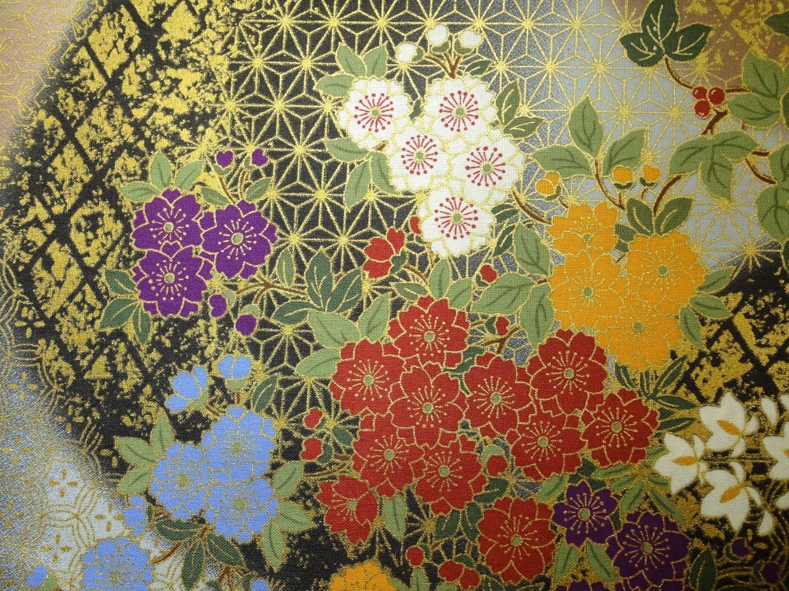HJ2029 Gold silent night flowers japanese fabric cotton 36M