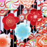 HJ2030 Yagasuri & Japanese Flowers pattern colorful fabric 36M