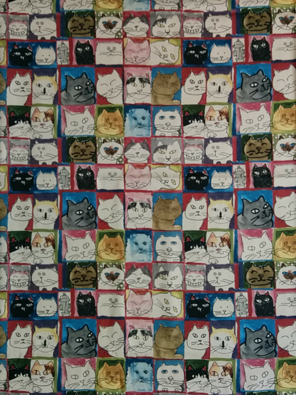 Manhattaner's Cat society print cotton fabric