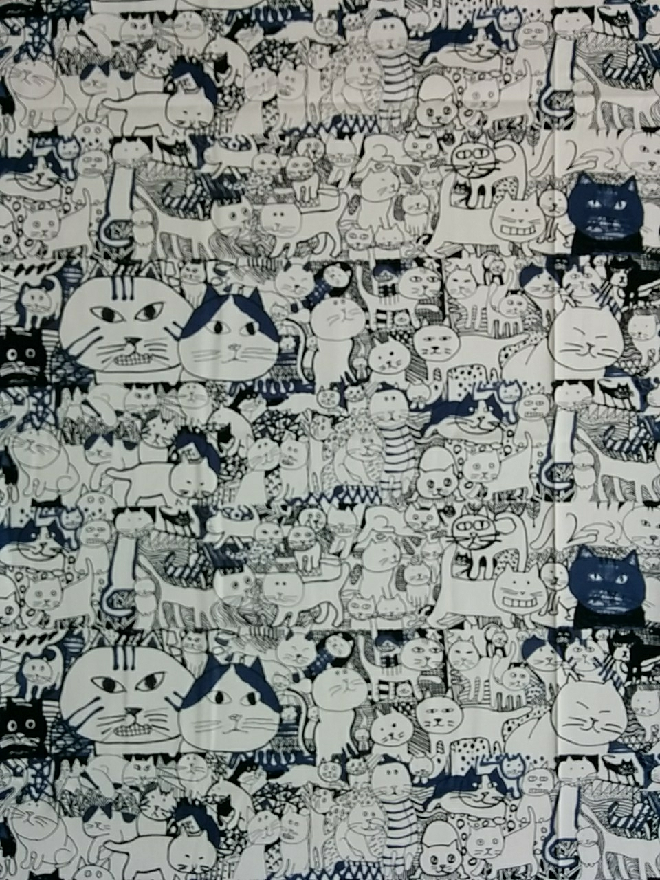 Manhattaner's Crowd cats print cotton fabric