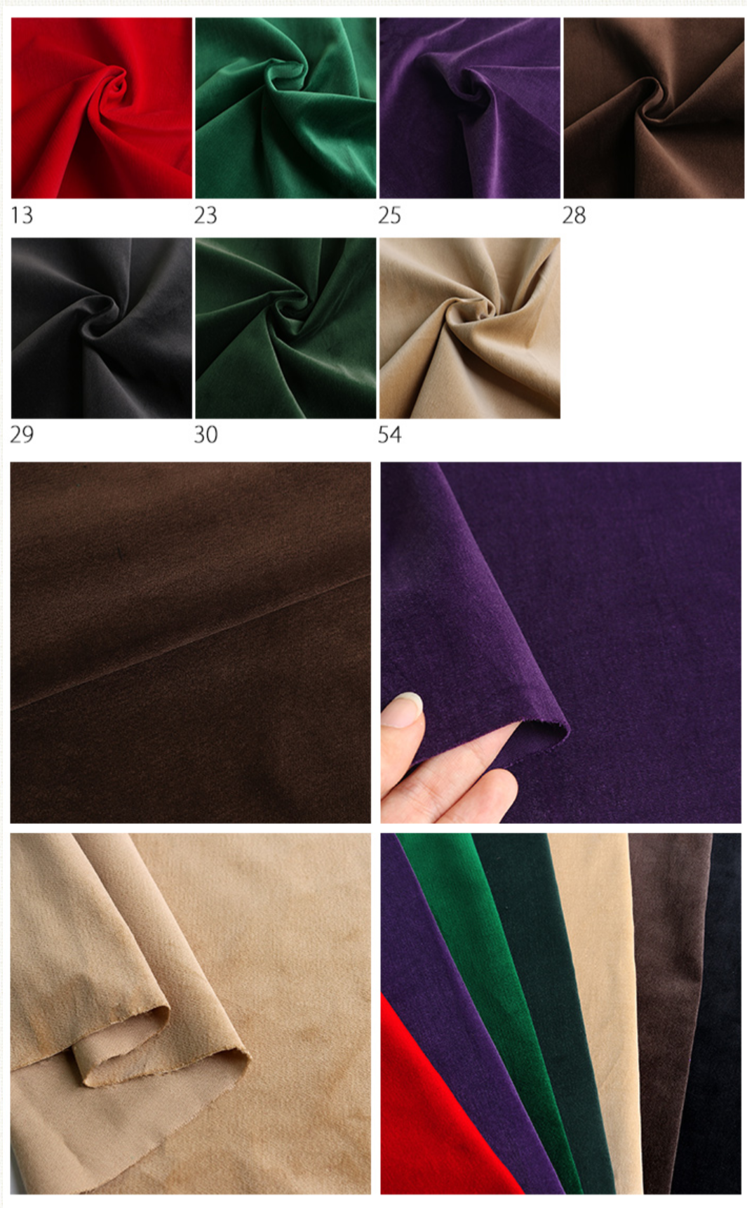 No.1013 velveteen  Pure Cotton japan fabric 10 colors