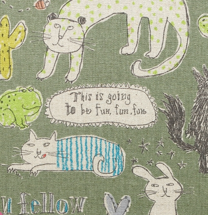 KC5015 CAT Cotton80+Linen20 mixed fabric printed (14M sell by the roll)japan