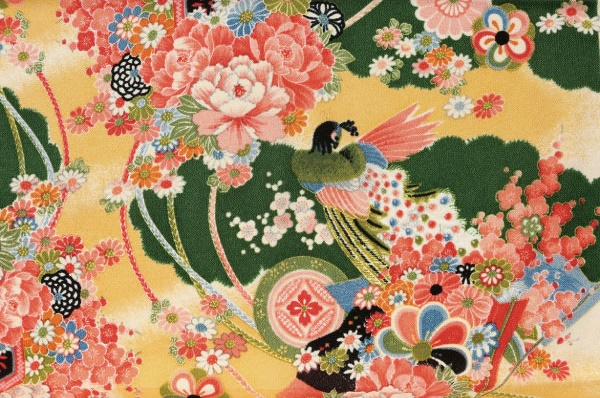 No.1033Chirimen Japan rayon fabric pattern birds green crepe sell by the roll