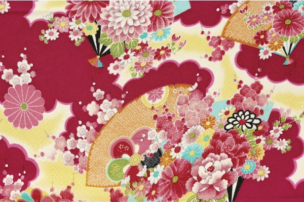 No.1034 Chirimen crepe japanese colorful retro design rayon wholesale fabric pink 12M