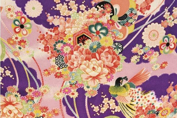 CR1035 CHIRIMEN CREPE purple Japanese design rayon fabric birds wholesale 12M