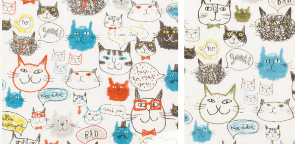 No.1023 funny cat fabric double gauze (sell by the roll 14M)