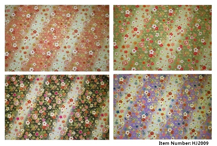 Like Origami paper floral pattern fabric with gold color.