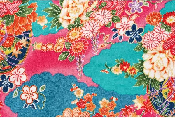 CR1036 CHIRIMEN CREPE Japan pattern light blue rayon fabric cloud 12M