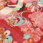 No.1037 Crane flower bird chirimen crepe fabric japanese pattern rayon 12M