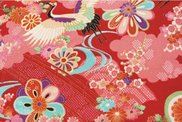 No.1037 Crane flower bird chirimen crepe fabric japanese pattern rayon 12M