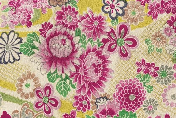 CR1038 CHIRIMEN CREPE printed Kanoko-shibori pattern flowers fabric wholesale 12M
