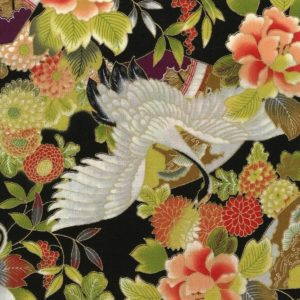 1128BR Gold CRANE japanese pattern cotton wholesale fabric bird 36M(Sevenberry)