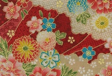 1133BR-B gold sakura clouds colorful japanese pattern wholesale 36M (Sevenberry)