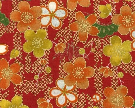 1134BR-A Cherry blossom, Shochikubai japan pattern fabric wholesale (Sevenberry)