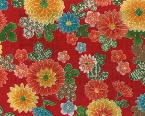 1136BR-B Chrysanthemum plum blossom pattern cotton fabric(Sevenberry)