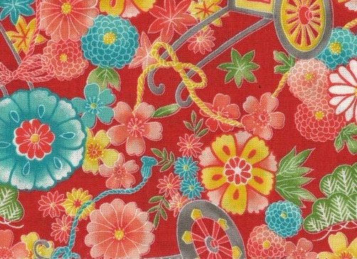 1137BR-B gorgeous Retro peony carriage japan fabric wholesale 36M (Sevenberry)