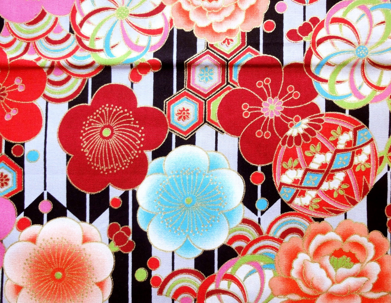 HJ2030 Yagasuri & Japanese Flowers pattern colorful fabric 36M