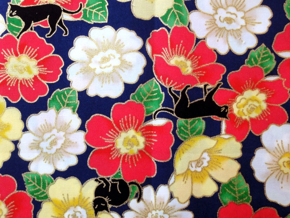 HJ2033 Camellia Japonica & Cats floral pattern wholesale fabric
