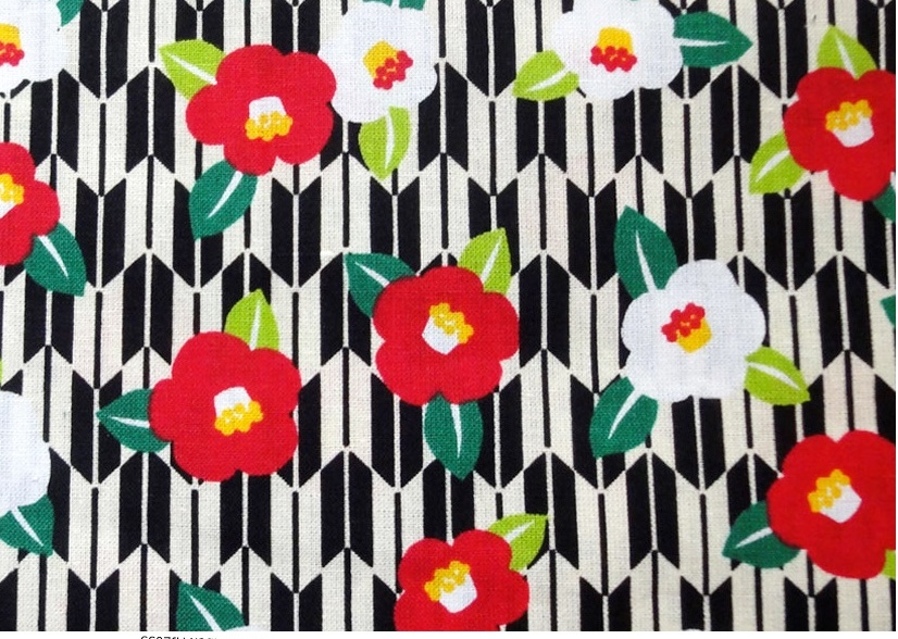 HJ2034 Camellia japonica Yagasuri japan traditional pattern fabric wholesale 36M