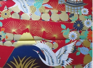 HJ2054 GOLD tsuru crane bird Mt.Fuji Japan pattern fabric