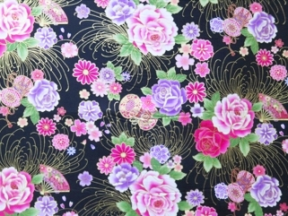 HJ2056 Gold lines of chrysanthemum Japan pattern printed fabric wholesale
