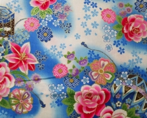 HJ2057 japanese ancient Mari ball & flowers pattern fabric cotton