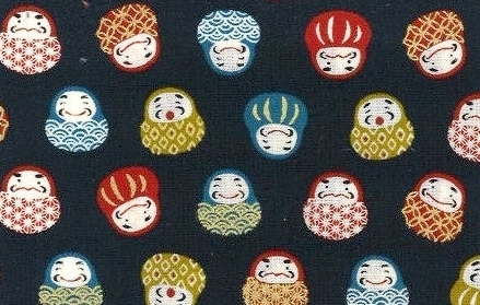 1129BR-2  Kawaii Daruma Japanese colorful pattern fabric (Sevenberry)36M,10M