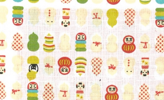 1141BR-A Kawaii gourd Daruma colorful Japan pattern fabric (Sevenberry) 53M