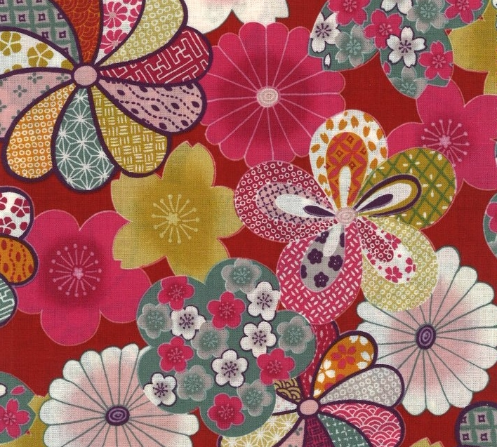 850275 -3 chrysanthemum floral pattern Japan fabric (Sevenberry)10,36M