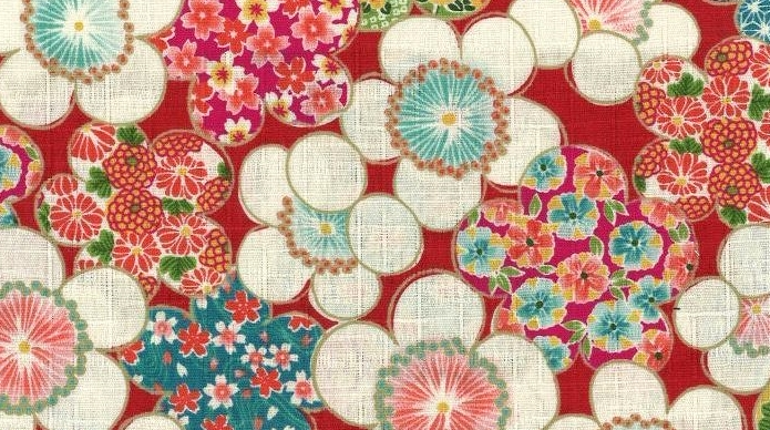 850289-1 Plum blossom Japanese fabric (Sevenberry)10,36M