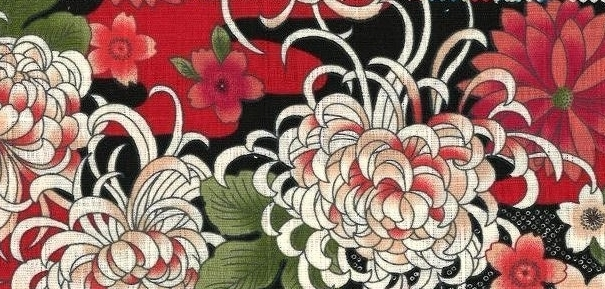 850289-2 cherry blossom & chrysanthemum floral Japan fabric(Sevenberry)36M