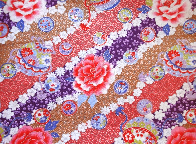 HJ2062 Colorful silver Japanese pattern peony botan flower mari cotton fabric