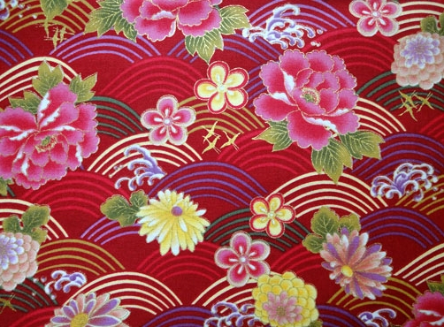 HJ2063 Floral and Wave Japan pattern cotton fabric colorful
