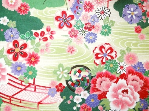 HJ2064 colorful Japan floral pattern Mitsudomoe hagi plum blossom fabric