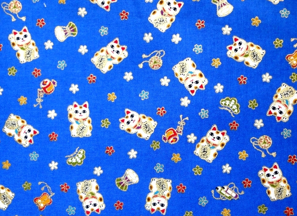 HJ2073 Maneki-neko Beckoning cat lucky animal pattern fabric Japan