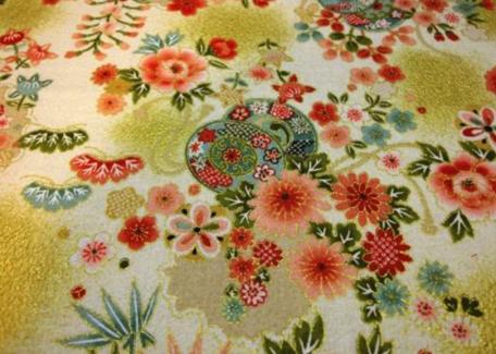 HJ2080 Tsuzumi Yukinowa flower Japan pattern fabric gold