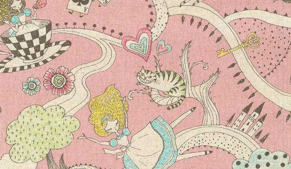 KC5002 'Alice's Adventures in Wonderland' linen mixed Japan fabric sell by the roll
