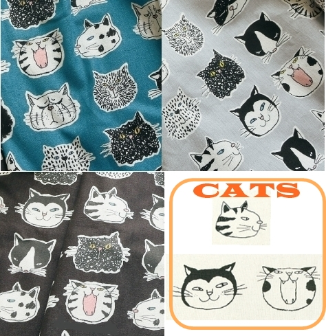 KC5003 CATS Japanese design printed Cotton 80+Line 20 mixed fabric