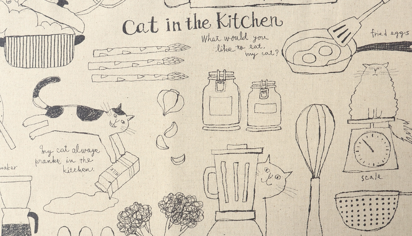 KC5004 CATS kitchen pattern cotton line blended fabric wholesale