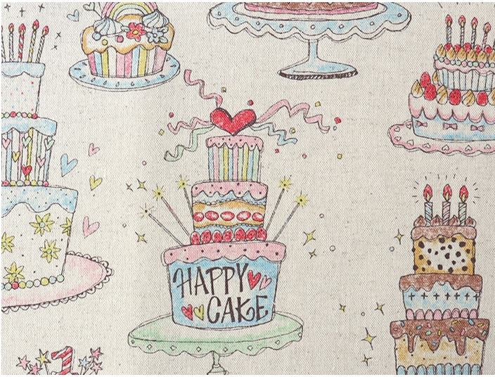 KC5005 FANCY CAKE Sweets pattern japan fabric linen cotton mixed