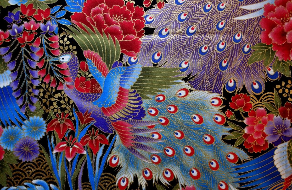 HJ2005 Peacock sakura iris peony chrysanthemum gold fabric Japan