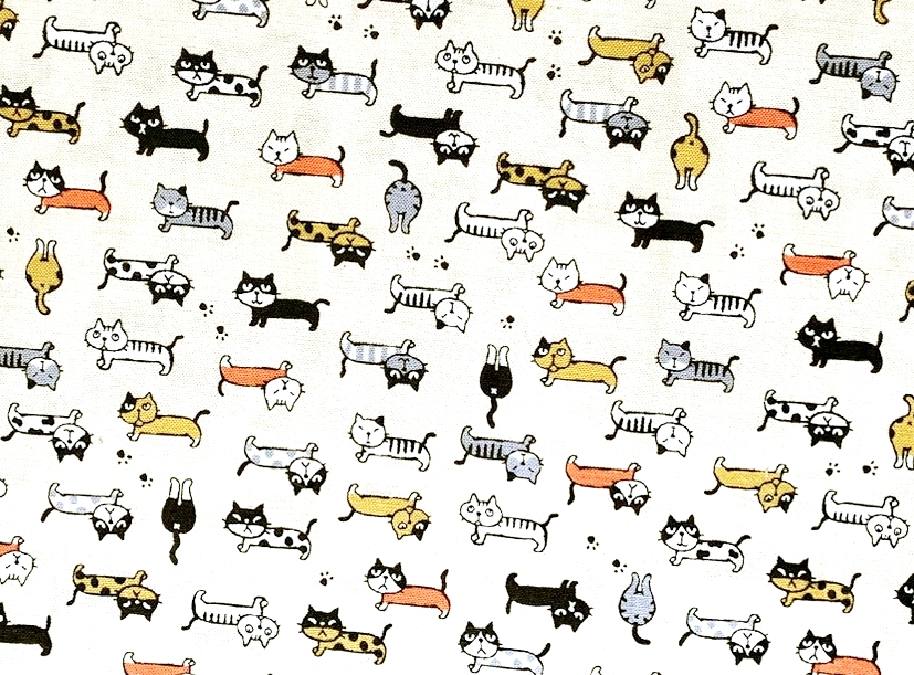 HJ2105 Cats kawaii pattern Japanese fabric sell by the roll