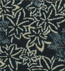 88223-D2  Like Indigo Maple leaves fabric Japan (Sevenberry 13M, 53M)