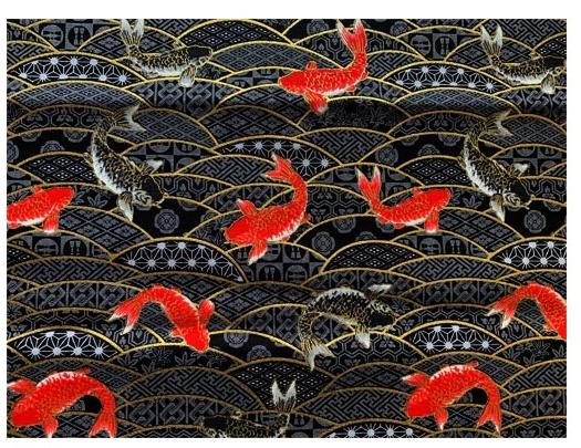 HJ2110 Wave and Carp fish pattern Japan fabric wholesale fabric